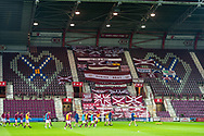 A view of the fans flags in the Gorgie Stand before the Betfred Scottish League Cup match between Heart of Midlothian and Inverness CT at Tynecastle Park, Edinburgh, Scotland on 6 October 2020.