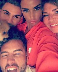 """Katie Price releases a photo on Instagram with the following caption: """"@marcelloferri @rossmfraser @jomantell @moscopom \ud83d\ude01\ud83d\ude18\ud83d\ude01"""". Photo Credit: Instagram *** No USA Distribution *** For Editorial Use Only *** Not to be Published in Books or Photo Books ***  Please note: Fees charged by the agency are for the agency's services only, and do not, nor are they intended to, convey to the user any ownership of Copyright or License in the material. The agency does not claim any ownership including but not limited to Copyright or License in the attached material. By publishing this material you expressly agree to indemnify and to hold the agency and its directors, shareholders and employees harmless from any loss, claims, damages, demands, expenses (including legal fees), or any causes of action or allegation against the agency arising out of or connected in any way with publication of the material."""