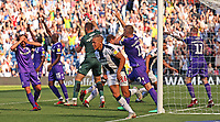 West Bromwich Albion's Dwight Gayle wheels away as Stoke City players plead for a West Brom goal to be disallowed for handball<br /> <br /> Photographer David Shipman/CameraSport<br /> <br /> The EFL Sky Bet Championship - West Bromwich Albion v Stoke City - Saturday September 1st 2018 - The Hawthorns - West Bromwich<br /> <br /> World Copyright © 2018 CameraSport. All rights reserved. 43 Linden Ave. Countesthorpe. Leicester. England. LE8 5PG - Tel: +44 (0) 116 277 4147 - admin@camerasport.com - www.camerasport.com