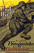 World War I 1914-1918.   Soldier in a trench holding a grenade and about to go 'over the top'. Text: And you? Subscribe to the 7th War Loan.  Austrian poster 1917.  Government Finance Bonds Propaganda