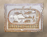 Late 2nd early 3rd century AD Roman mosaic depictiong a  chariot race at the circus. From Cathage, Tunisia.  The Bardo Museum, Tunis, Tunisia. .<br /> <br /> If you prefer to buy from our ALAMY PHOTO LIBRARY  Collection visit : https://www.alamy.com/portfolio/paul-williams-funkystock/roman-mosaic.html - Type -   Bardo    - into the LOWER SEARCH WITHIN GALLERY box. Refine search by adding background colour, place, museum etc<br /> <br /> Visit our ROMAN MOSAIC PHOTO COLLECTIONS for more photos to download  as wall art prints https://funkystock.photoshelter.com/gallery-collection/Roman-Mosaics-Art-Pictures-Images/C0000LcfNel7FpLI