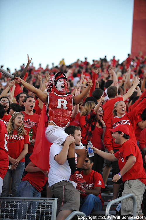 Sep 19, 2009; Piscataway, NJ, USA; Fans cheer from the stands during the first half of NCAA college football between Rutgers and Florida International at Rutgers Stadium.