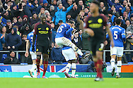 Romelu Lukaku of Everton celebrates after scoring his teams 1st goal as teammate Ramiro Funes Mori jumps on his back. Premier league match, Everton v Manchester City at Goodison Park in Liverpool, Merseyside on Sunday 15th January 2017.<br /> pic by Chris Stading, Andrew Orchard sports photography.
