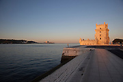 The Tower of Belém on the bank of the Tagus River, now a UNESCO World Heritage Site, in Lisbon, Portugal