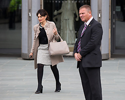 © Licensed to London News Pictures . 14/05/2015 . Liverpool , UK . Kristina Kyriacou (l) , Prince Charles' Press Officer , who yesterday (13th May 2015) was seen obstructing reporter Michael Crick and ripping the windshield from his microphone , outside the World Museum in Liverpool during a visit by the Prince or Wales and the Duchess of Cornwall . Photo credit : Joel Goodman/LNP