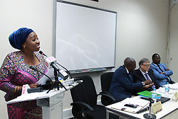 August 10, 2017 - Dar Es Salaam, Dar es Salaam, Tanzania - Dr. Ummy Mwalimu, Minister of Health, addresses attendees at a media event at the Ministry of Health, as Mpoki Ulisubisya, Permanent Secretary, second from left, translates for Bill Gates. Gates announced a 5 million investment that will digitize Tanzania's health information systems to improve health data in the country. He congratulated the government of Tanzania on their leadership and drive to incorporate digital health and data into their policy framework. On the right is George Simbachawene, Minister of President's Office. (Credit Image: © Ric Francis via ZUMA Wire)