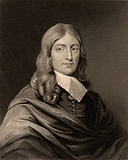 John Milton (1608-1674) English poet, born at Cheapside, London. Engraving.  British Literature