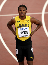 Jamaica's Jaheel Hyde after the Men's 400m hurdles heats during day four of the 2017 IAAF World Championships at the London Stadium. PRESS ASSOCIATION Photo. Picture date: Monday August 7, 2017. See PA story ATHLETICS World. Photo credit should read: John Walton/PA Wire. RESTRICTIONS: Editorial use only. No transmission of sound or moving images and no video simulation