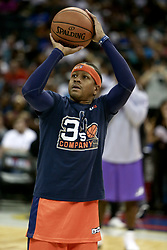 July 2, 2017 - Charlotte, North Carolina, United States - Allen Iverson (3) of 3's Company warms up before the game against Ghost Ballers during week two of the BIG3 three on three basketball league at the Spectrum Center. (Credit Image: © Debby Wong via ZUMA Wire)
