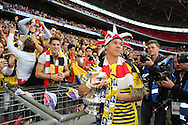 Arsenal's Kieran Gibbs with the FA Cup during the The FA Cup match between Arsenal and Aston Villa at Wembley Stadium, London, England on 30 May 2015. Photo by Phil Duncan.