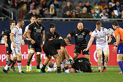 November 3, 2018 - Chicago, IL, U.S. - CHICAGO, IL - NOVEMBER 03: Maori All Blacks Pari Pari Parkinson (5) slams Shaun Davies (9) of USA into the ground in action during the Rugby Weekend match between the New Zealand Maori All Blacks and the USA Eagles on November 3, 2018 at Soldier Field, in Chicago, Illinois.  (Photo by Robin Alam/Icon Sportswire) (Credit Image: © Robin Alam/Icon SMI via ZUMA Press)