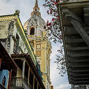 Cathedral Santa Catalina de la Alejandria looks over Plaza de Bolivar in the Old City (Cuidad vieja) of Cartagena, Bolivar, Colombia.