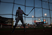 New York Mets right fielder Curtis Granderson (3) swings his bat before taking on the San Francisco Giants at AT&T Park in San Francisco, Calif., on August 21, 2016. (Stan Olszewski/Special to S.F. Examiner)