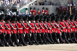 © Licensed to London News Pictures. 01/06/2019. London, UK. Trooping the Colour Colonel's Review takes place at Horse Guards Parade. Reviewed by His Royal Highness The Duke of York, this rehearsal takes place a week before Queen Elizabeth II attends the same ceremony on June 8th to mark her official birthday. Over 240 soldiers from the 1st Battalion Welsh Guards will line the route down The Mall. Also taking part will be up to 1450 soldiers of the Household Division and The King's Troop Royal Horse Artillery, along with up to 400 musicians from the Massed Bands, all of whom will parade on Horse Guards for the second of two formal Reviews. Photo credit: Peter Macdiarmid/LNP