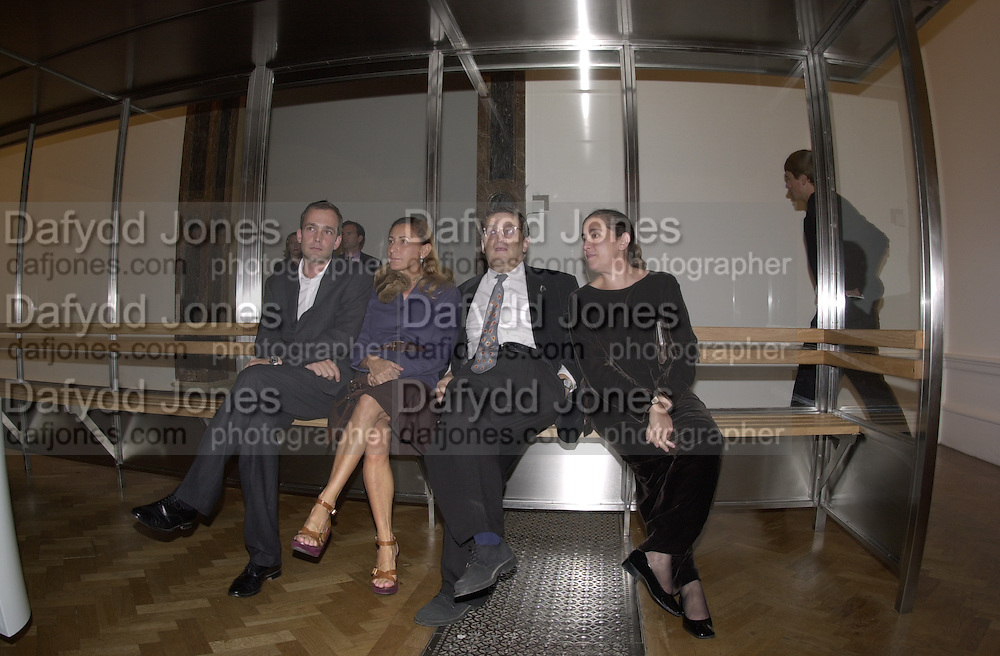 Max Wigram, Miucucci Prada, Norman Rosenthall and  Maula  Mema, ( she is Mrs. Norman Rosenthall at the Auchwitz bus stop.  Apocalypse opening. Royal Academy. 18 September 2000. © Copyright Photograph by Dafydd Jones 66 Stockwell Park Rd. London SW9 0DA Tel 020 7733 0108 www.dafjones.com