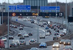 © under license to London News Pictures.  File picture dated 23/12/2010. The M25 at the junction for the M4. The M25 will tomorrow (29/10/2011) be 25 years old. 117-mile London Orbital motorway was opened by then Prime Minister Margaret Thatcher on October 29, 1986. Photo credit: London News Pictures.