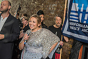 Charlotte Church does a quick Q&A after. The Welsh singer, performs outside Shell HQ as part of month long protest against Arctic drilling from Greenpeace. The protest involves a classical orchestra performing a daily Requiem for the Arctic Ocean. Shell Centre, Southbank, London, UK 26 Aug 2015