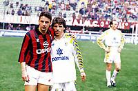 Fotball<br /> Foto: imago/Digitalsport<br /> NORWAY ONLY<br /> <br /> 24.03.1996<br /> Roberto Baggio (AC Milan, li.) und Gianfranco Zola (Parma)