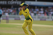 Heather Knight of England (5) caught by Rachael Haynes of Australia (7) during the Royal London Women's One Day International match between England Women Cricket and Australia at the Fischer County Ground, Grace Road, Leicester, United Kingdom on 4 July 2019.