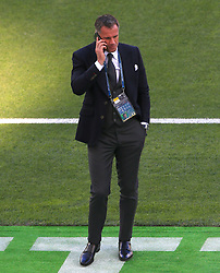 Football Pundit Jamie Carragher speaks on his phone ahead of the UEFA Champions League Final at the NSK Olimpiyskiy Stadium, Kiev.