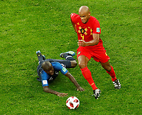 SAINT PETERSBURG, RUSSIA - JULY 10: Ngolo Kante (L) of France national team and Vincent Kompany of Belgium national team vie for the ball during the 2018 FIFA World Cup Russia Semi Final match between France and Belgium at Saint Petersburg Stadium on July 10, 2018 in Saint Petersburg, Russia. MB Media