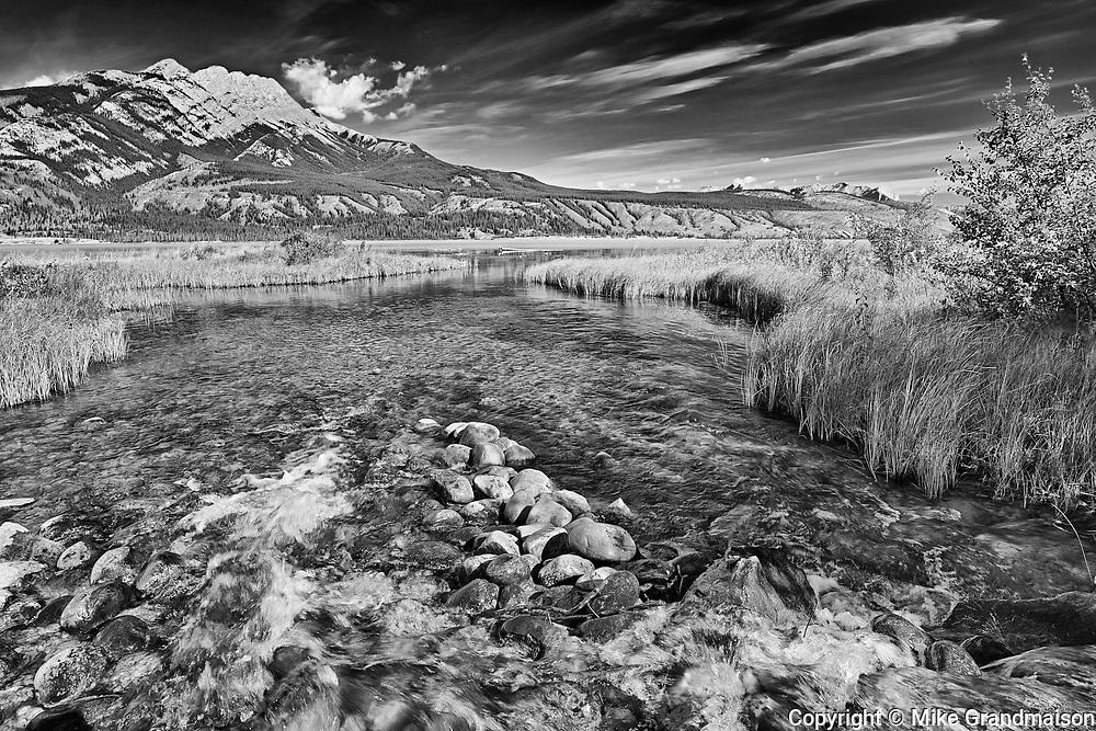 Stream and the Canadian Rocky Mountains, Jasper National Park, Alberta, Canada<br />Jasper National Park<br />Alberta<br />Canada