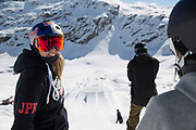 Katie Summerhayes during spring freestyle ski training camp on 05th May 2017 in Corvatsch, Switzerland. Piz Corvatsch is a mountain in the Bernina Range of the Alps, overlooking Lake Sils and Lake Silvaplana in the Engadin region of the canton of Graubünden.