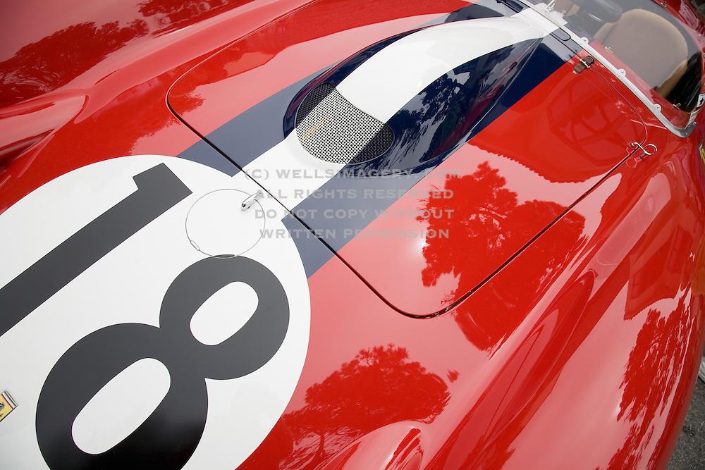 Image of a red Ferrari sports car detail in Monterey, California, America west coast