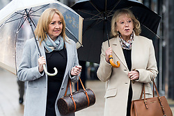 © Licensed to London News Pictures. 21/11/2017. Wakefield, UK. Left to right Denise Courtney & Sheila Connor (sisters of Ann Maguire) arrive at Wakefield Coroners Court this morning for the seventh & final day of the Ann Maguire inquest. Mrs Maguire, a 61 year old Spanish teacher, was stabbed to death by Will Cornick at Corpus Christi Catholic College in Leeds in April 2014. The school pupil, who was 15 at the time, admitted murdering Mrs Maguire and was given a life sentence later that year. Since then, some of Mrs Maguire's family have campaigned for further investigation into her death as they believe more could have been done to prevent the tragedy. Photo credit: Andrew McCaren/LNP
