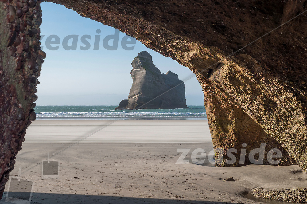 Limestone cliffs off the Wharariki Coastline in the north west of New Zealands South Island.