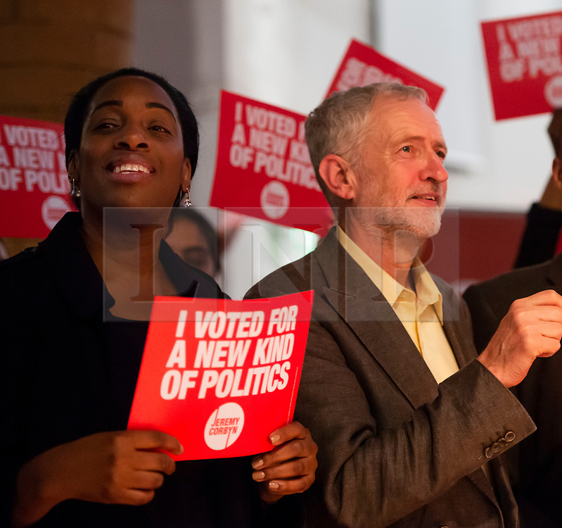 © Licensed to London News Pictures. FILE PICTURE 10/09/2015. London, UK. Labour MP KATE OSAMOR and JEREMY CORBYN at a Labour Party leadership rally in Islington, north London, shortly before Jeremy Corbyn was elected leader of the party.  Kate Osamor has resigned as Shadow Secretary of State for International Development weeks after she was reported to Parliament's standards watchdog. Her son Ishmael Osamor admitted in October to having £2,500-worth of drugs at Bestival in Dorset last year..  Photo credit: Ben Cawthra/LNP
