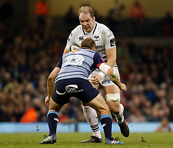 Ospreys' Alun Wyn Jones lines up Cardiff Blues' Garyn Smith<br /> <br /> Photographer Simon King/Replay Images<br /> <br /> Guinness PRO14 Round 21 - Cardiff Blues v Ospreys - Saturday 28th April 2018 - Principality Stadium - Cardiff<br /> <br /> World Copyright © Replay Images . All rights reserved. info@replayimages.co.uk - http://replayimages.co.uk