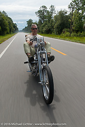Bill Buckingham riding his 1923 Harley-Davidson J model custom chopper (that won top honors at Born Free 6) during Stage 1 of the Motorcycle Cannonball Cross-Country Endurance Run, which on this day ran from Daytona Beach to Lake City, FL., USA. Friday, September 5, 2014.  Photography ©2014 Michael Lichter.