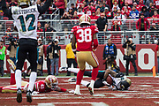 Jacksonville Jaguars wide receiver Jaelen Strong (10) scores a touchdown against the San Francisco 49ers at Levi's Stadium in Santa Clara, Calif., on December 24, 2017. (Stan Olszewski/Special to S.F. Examiner)