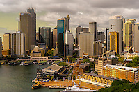 The Rocks, Circular Quay and the Central Business District seen from the Sydney Harbour Bridge, Sydney, New South Wales, Australia