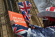 A Brexiteer protestor holds a Believe in Britain placard beneath parliament during a protest on College Greeen in Westminster, the morning after another of Prime Minister Theresa Mays Brexit deal votes failed again in Parliament, on 13th March 2019, in London, England.