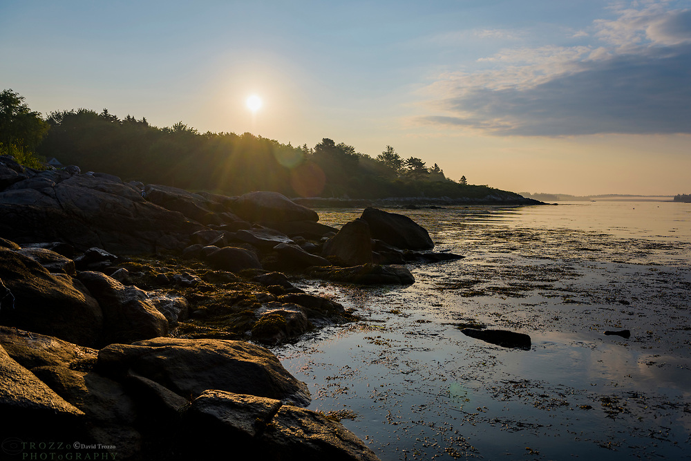 Rough coast line at sunrise, Spruce Head, Maine, USA.