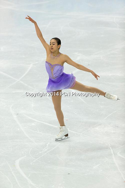 Mao Asada (JPN) competiting in the Women's Figure Skating Short Program at the Olympic Winter Games, Sochi 2014