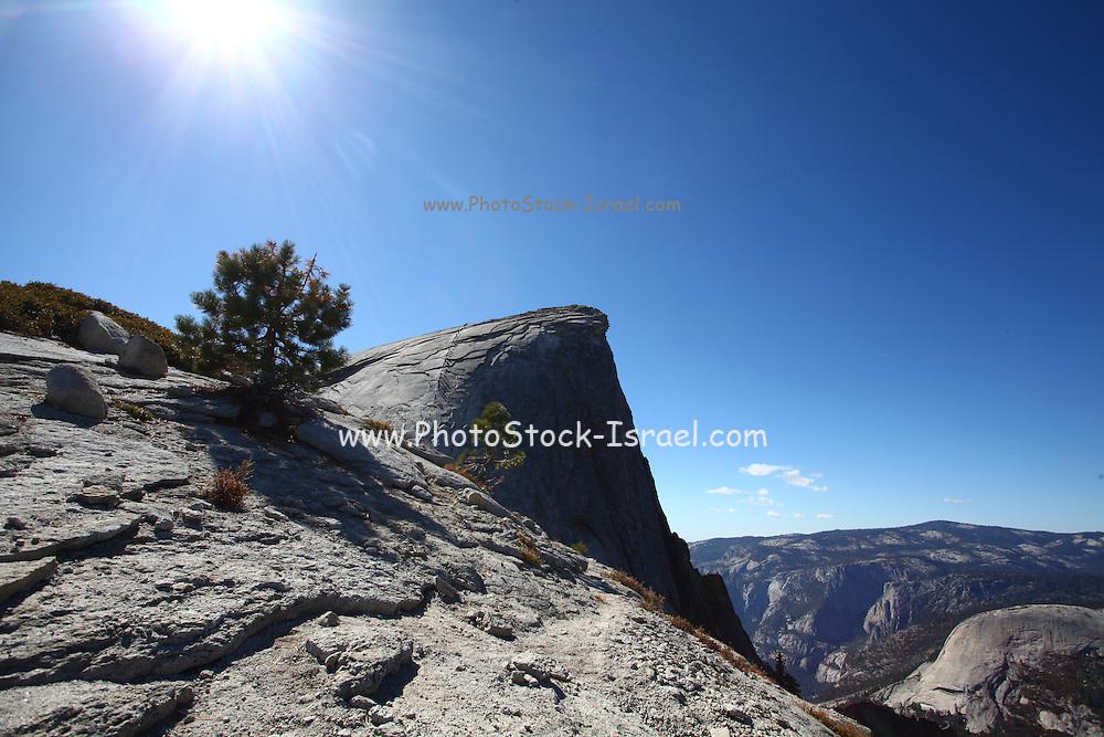 Falls trail on the way to Climbing Half Dome rock at Yosemite national Park, California USA