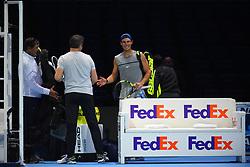 November 10, 2017 - London, England, United Kingdom - Rafael Nadal of Spain enters the pitch for a training session prior to the Nitto ATP World Tour Finals at O2 Arena, London on November 10, 2017. (Credit Image: © Alberto Pezzali/NurPhoto via ZUMA Press)