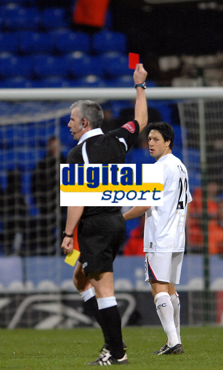 Photo: Paul Greenwood.<br />Bolton Wanderers v Arsenal. The FA Cup. 14/02/2007. Referee Mr C Foy issues a red card to Bolton's Tal Ben Haim (Unseen)