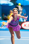 Defending Australian Open champion, Victoria Azarenka of Belarus took on Angnieszka Radwanska of Poland in Day 10 of the Melbourne tournament on Rod Laver Arena's center court. Radwanska triumphed over Azarenka 6-1, 5-7, 6-0 leading her into the semifinals.