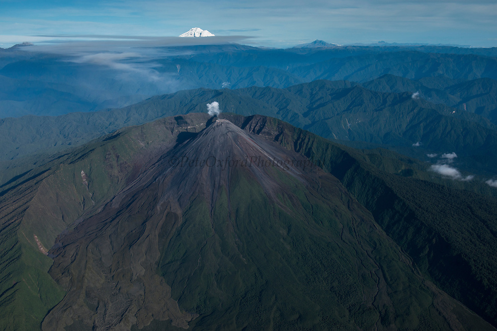 Reventador Volcano<br /> Andes<br /> ECUADOR, South America<br /> 3,562 meters above sea level<br /> 11,686 feet<br /> Reventador is an active stratovolcano which lies in the eastern Andes of Ecuador. Since 1541 it has erupted over 25 times. <br /> Active