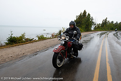 Richard Kaylor riding his 1948 Harley-Davidson Panhead in the Cross Country Chase motorcycle endurance run from Sault Sainte Marie, MI to Key West, FL. (for vintage bikes from 1930-1948). Stage 1 from Sault Sainte Marie to Ludington, MI USA. Friday, September 6, 2019. Photography ©2019 Michael Lichter.