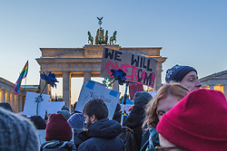 November 12, 2016 - Berlin, Germany - At the iconic Brandenburger Gate in Berlin, infront of the US embassy, hundreds of protesters gather to voice their protest against president-elect Donald Trump. (Credit Image: © Willi Effenberger/Pacific Press via ZUMA Wire)