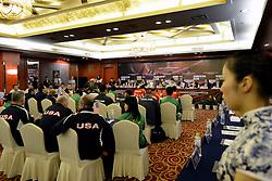 26-06-2012 VOLLEYBAL: WGP FINAL PERSCONFERENTIE: NINGBO<br /> FIVB Tactical Meeting, vergadering<br /> ©2012-FotoHoogendoorn.nl