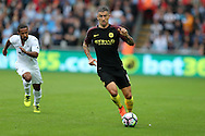 Aleksandar Kolarov of Manchester city in action.Premier league match, Swansea city v Manchester city at the Liberty Stadium in Swansea, South Wales on Saturday 24th September 2016.<br /> pic by Andrew Orchard, Andrew Orchard sports photography.