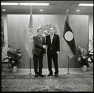 Choummaly Sayasone, President of Lao People's Demmocratic Republic,with United Nations Secretary General Ban Ki moon.