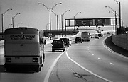 Bill Clinton as Governor of Arkansas and US Presidential Candidate during the Presidential Election Campaign October 1992. Scans made in 2017.<br /> Seen here: Candidate Clinton on the road protected by police outriders and leaving Philadelphia on the I 95 en route to Wilmington for an evening election rally.<br /> Photographs on the road on the 1992 Presidential Election campaign trail from Philadelphia and down the eastern states to Atlanta in Georgia. Clinton went on to become the 42nd President of the United States serving two terms from 1993 to 2001.