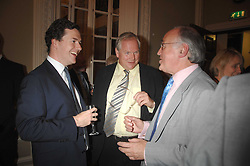 Left to right,  GEORGE OSBORNE, ADAM BOULTON and MICHAEL HOWARD at a party to celebrate the publication of Sandra Howard's book 'Ursula's Stor' held at The British Academy, 10 Carlton House Terace, London on 4th September 2007.<br /><br />NON EXCLUSIVE - WORLD RIGHTS